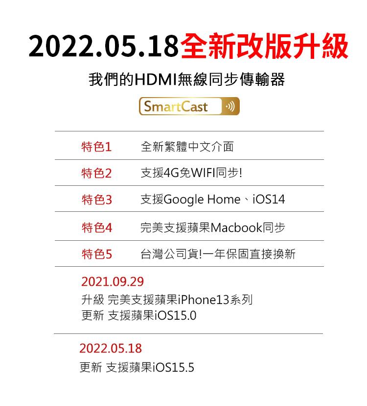 『無名』 一年保固! SmartCast HDMI 無線同步 手機 傳輸器 電視棒 蘋果 AnyCast Q10102